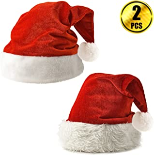 WXJ13 2 Pack Red Velvet Christmas Santa Hats with White Plush Trim for Children and Adults Celebrations and Recreation