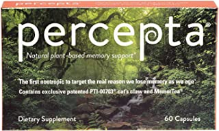 Percepta Plant-Based Memory Support - Natural Nootropic Brain Booster - Memory, Focus, Concentration - 30 Day Supply
