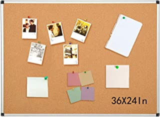 Aluminum Frame Bulletin Board 24 x 36 Inches, Display Organization Cork Board, Thicken and Reinforce