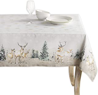 Maison d' Hermine Deer in The Woods 100% Cotton Tablecloth 60 Inch by90 Inch. Perfect for Thanksgiving and Christmas