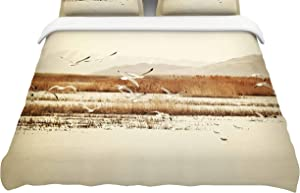 Kess InHouse Sylvia Coomes Nautical Flight Tan BrownKing Cotton Duvet Cover, 104 x 88,