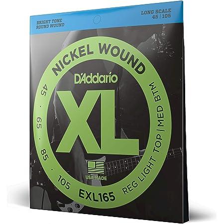 D'Addario EXL165 Cordes longues en nickel pour basse Custom Light 45-105