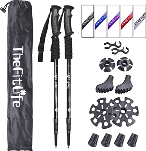 TheFitLife Nordic Walking Trekking Poles - 2 Pack with Antishock and Quick Lock System, Telescopic, Collapsible, Ultr...