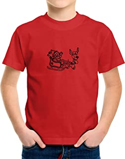 Santa Reindeer Sleigh Ride Christmas Toddler Kids Boy Girl Tee T-Shirt Cartoon Graphic Gift Shirts