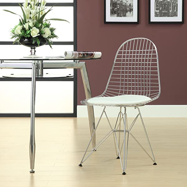 Modway Tower Mid Century Modern Wire Dining Chair In White With Faux Leather Seat