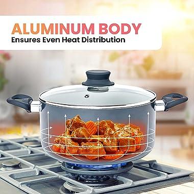 Mueller Pots and Pans Set Non-Stick, 16-Piece Healthy Stone Cookware Set Butter Warmer, Aluminum Body, Deep Fry, Fry Pan, Sau