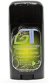 Green Theory Natural Probiotic Deodorant - Citrus and Vanilla | Aluminum-Free, Non-Toxic | Lemon, Neroli, Lime, Mandarin, Vanilla, Orange, Bergamot Essential Oils | 2.65 Ounce Solid Stick