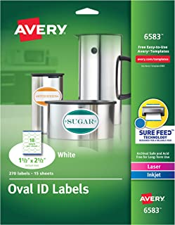 Avery White Oval Labels, White, Permanent, Pack of 270 (6583)