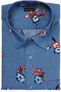 BLUEPOCKET Printed Shirt for Men. Casual, Cotton, Regular Fit, Rounded Hemlines (Blue Print)