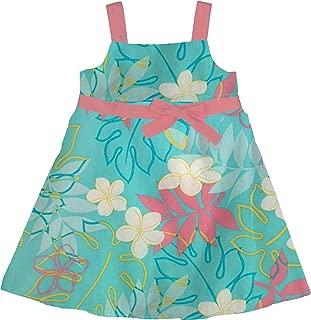 RJC Girl's Monstera Plumeria Line Art Butterfly Bow Flare Dress