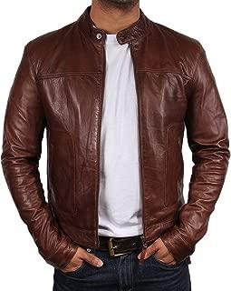 Mens Genuine Biker Leather Jacket Bomber Coat Designer