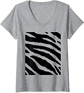 Womens Tiger Stripes Animal Halloween Costume DIY Tiger Belly V-Neck T-Shirt