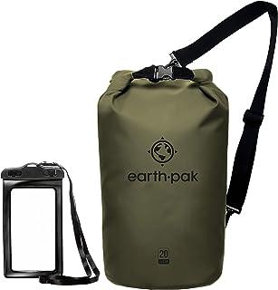 Earth Pak Dry Bag – wasserdichter Packsack mit Schultergurt und wasserfester Handyhülle – ideale Rolltop Tasche beim Kajak Fahren, Wandern, Camping, Angeln, Bootfahren und Rafting