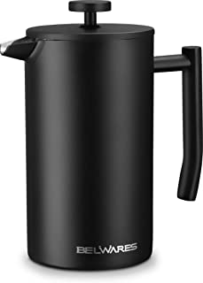 French Press Coffee Maker - Black Stainless Steel Coffee Press Maker, Designed with Double Wall and Extra Filters for A Richer and Fuller Coffee Flavor (34oz)