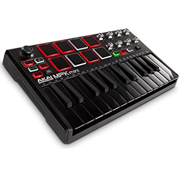 Akai Professional MPK Mini MKII LE Black | Black, Limited Edition 25 Key Portable USB MIDI Keyboard With 8 Backlit Performance Ready Pads, 8 Assignable Q Link Knobs & A 4 Way Thumbstick