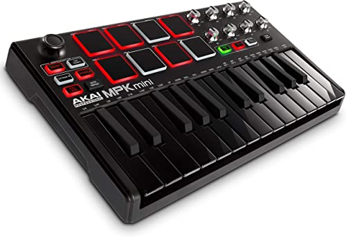 AKAI Professional MPK Mini MKII LE Black - Clavier Maître MIDI/USB 25 Touches Sensibles à la Vélocité, 8 Pads, 8 Pote...