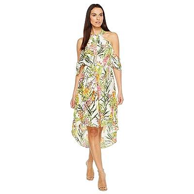 Adelyn Rae Leanna Woven High-Low Dress (White/Green) Women