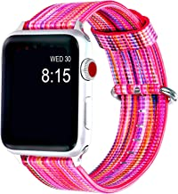 D-PLANET Pink Compatible Apple Watch Band 42mm 44mm Leather Genuine Colorful Wrist Strap Compatible iWatch Series 5 4 3 2 1 Women Men