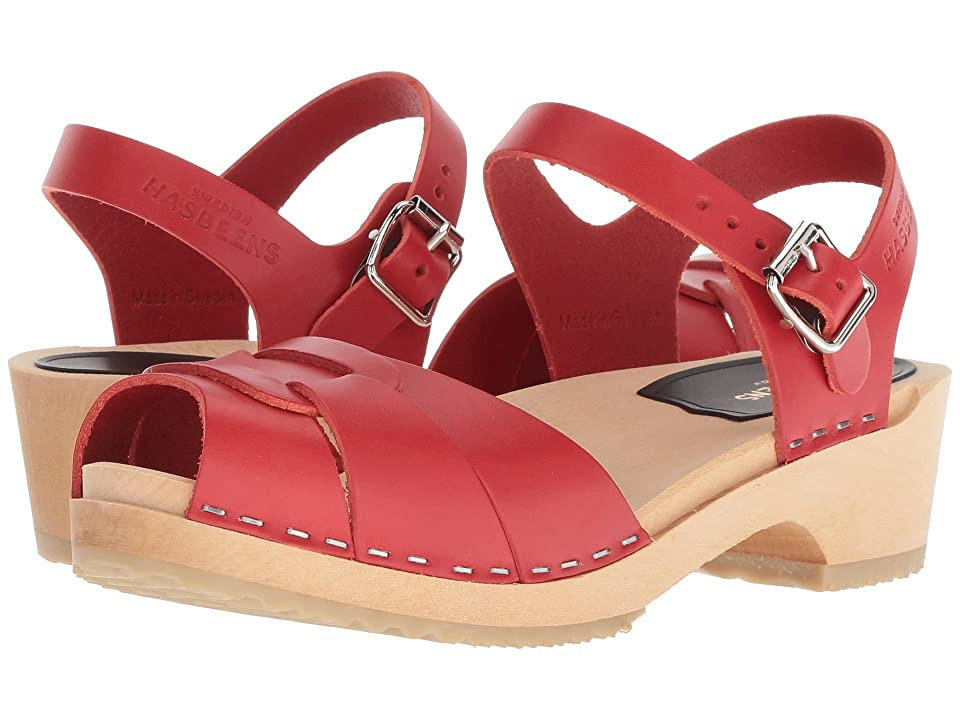 60s Shoes, Boots | 70s Shoes, Platforms, Boots Swedish Hasbeens Peep Toe Low Red Womens Sandals $169.00 AT vintagedancer.com