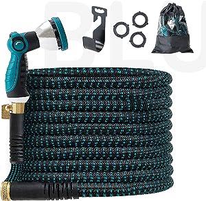 BLUU Expandable Garden Hose 100 ft, Flexible Outdoor Watering Hose, Heavy Duty 3/4