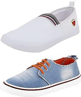 Chevit Men's Denim Canvas Combo Of 2 Casual Shoes