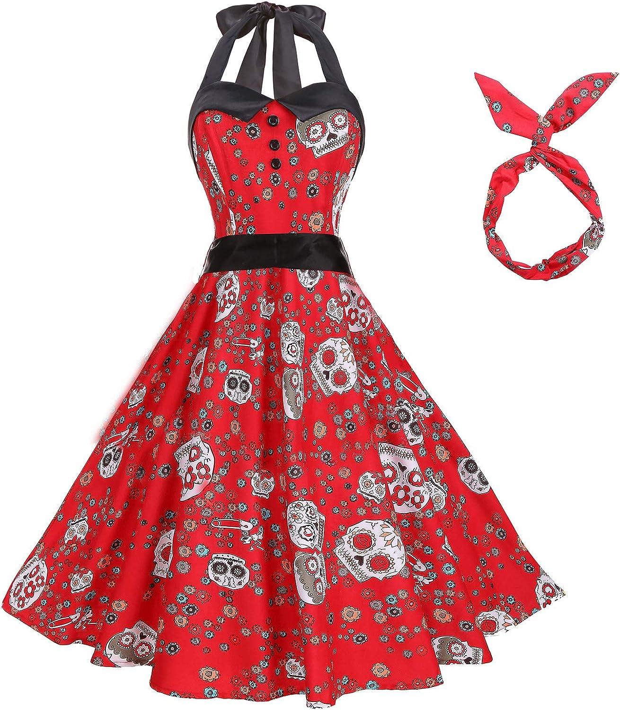 BI.TENCON 1950s Halter Style Vintage Polka Dot Swing Party Dress