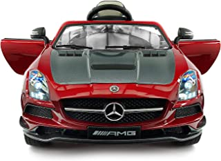Carbon Red SLS AMG Mercedes Benz Car for Kids, 12V Powered Kids Ride On Car, Leather Seat, LED Lights, Parental Remote, Built-in LCD Touch Screen TV Dashboard, Stroller Seatbelt