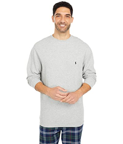Polo Ralph Lauren Big Midweight Waffle Long Sleeve Crew (Andover Heather/Cruise Navy Pony Player) Men