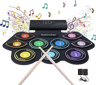 電子ドラム ポータブルドラム 初心者 9個ドラムパッド 12デモ曲 7ドラム音色 9リズム スピーカー内蔵 フットペダル USB充電式 入門 練習 楽器 プレゼント 日本語説明書付き 最新版