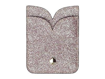 Kate Spade New York Glitter Double Sticker Pocket (Rose Gold) Credit card Wallet