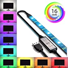 USB LED Lighting Strip for HDTV - Small (39in / 1m) - Multi-Color RGB - USB LED Backlight Strip with Dimmer for Flat Screen TV LCD, Desktop Monitors, Kitchen Cabinets…