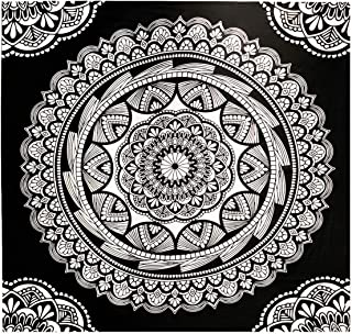 Mandala Tapestry, Indian Hippie Bohemian Wall Blanket Psychedelic Black and White Floral Tapestry Indian Bedspread Art Tapestry Wall Hanging for Home Decor (Mandala, 51.2