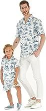Matching Father Son Hawaiian Luau Outfit Men Shirt Boy Shirt Shorts Classic White Flamingo