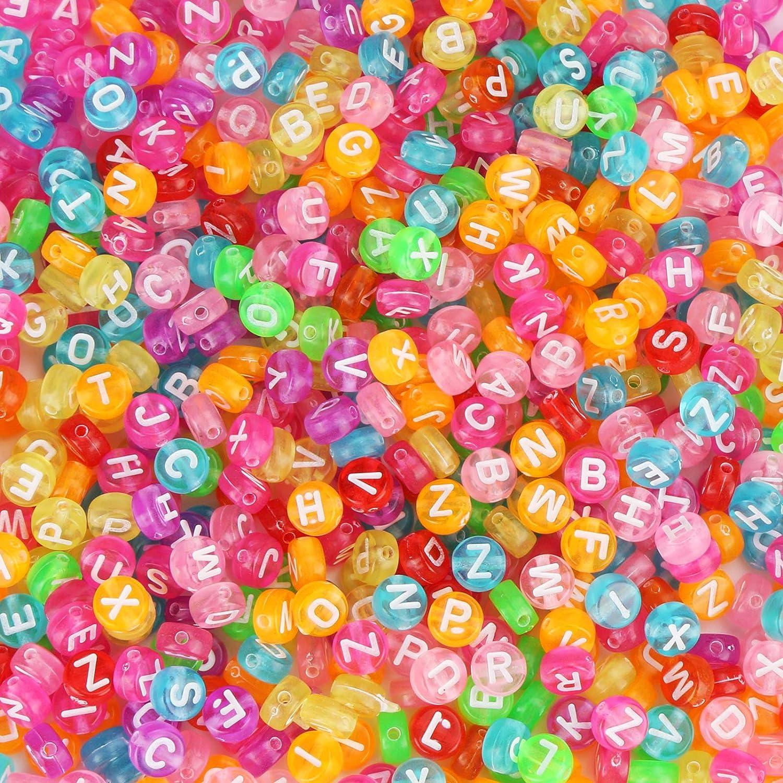 1200pcs 7mm Lettre Perles Rondes Color/é Plastique Acrylique Perles Alphabet A-Z avec Corde en Cristal pour Le Bricolage Fabrication de Bracelets Colliers Bijoux Vegena Perle Alphabet