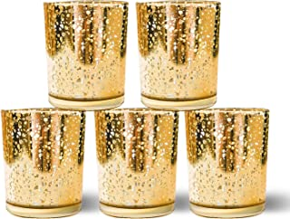Homemory Votive Candle Holders Bulk, Set of 12 Gold Tealight Candle Holder, Mercury Glass Candle Holder for Wedding, Parties, Christmas Decoration and Home Decor