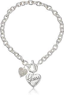 """Guess""""Basic"""" Silver Logo Corazón y Pave Corazón Toggle Collar con Colgante"""