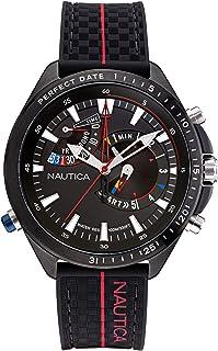 Nautica Men's Stainless Steel Quartz Fabric Strap, Black, 22 Casual Watch (Model: NAPSWS002)