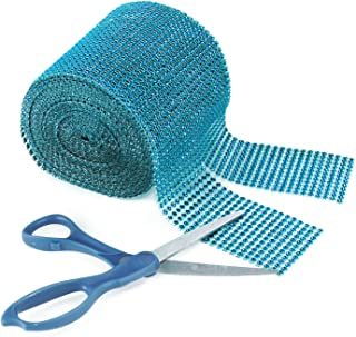 Super Z Outlet Turquoise Rhinestone Diamond Style Decorating Mesh Ribbon Roll (4.75