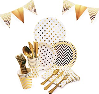 145 Piece Gold Party Supplies Set | Disposable Dinnerware Set | Polka Dot and Chevron Styles | Services 24 with Gold Cutlery Includes Plastic Knives, Spoons, Forks, Paper Plates, Napkins, Cups, Banner