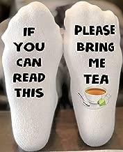 If you can read this socks   Bring me a tea socks   funny christmas gift   Stocking Stuffer   Tea Lover Gift   Writing on Socks