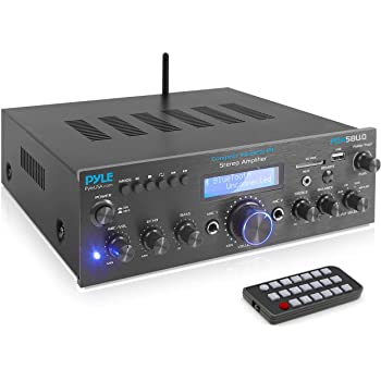 Pyle PDA5BU.0 200W Audio Stereo Receiver-Wireless Bluetooth Power Amplifier Home Entertainment System w/AUX in, USB Port, 2 Karaoke Microphone Input, Remote