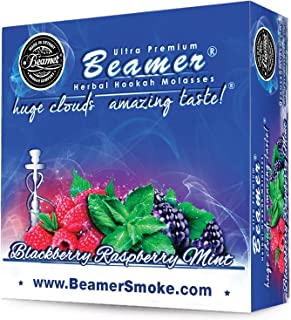 Blackberry Raspberry Mint Beamer® Ultra Premium Hookah Molasses 50 Gram Box. Huge Clouds, Amazing Taste!® 100 % Tobacco, Nicotine & Tar Free but more taste than tobacco! Compares to Hookah Tobacco at a fraction of the price! GREAT TASTE, LOTS OF SMOKE & SMELLS GREAT!!! Proudly made in the USA!