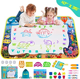 Obuby Aqua Magic Doodle Mat Kids 48 x 35 Inches Water Color Drawing Board Sea Word Coloring Writing Educational Toys Gift for Boys Girls Age 3 4 5 6 7 8 9 10 11 12 Year Old Toddler
