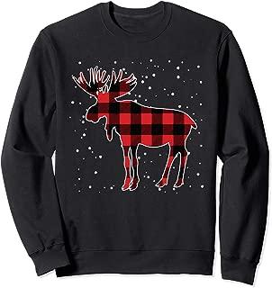Red Plaid Moose Matching Family Pajama Sweatshirt