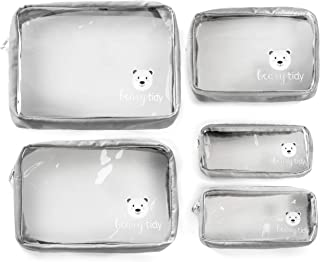 Beary Tidy - Bolsa organizadora de pañales (5 piezas), transparente con cremalleras y anidable