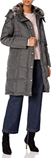 London Fog Women's Chevron Coat with Faux-Fur Trim