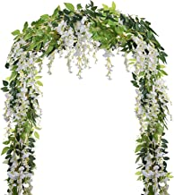 5 Pcs-31ft Artificial Silk Wisteria Flowers Hanging Vine Faux Fake Plants Flowers Hanging Vine Artificial Ivy Leaves Garla...