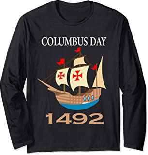 Columbus Day Tee marine Day 1492 Gift Long Sleeve T-Shirt