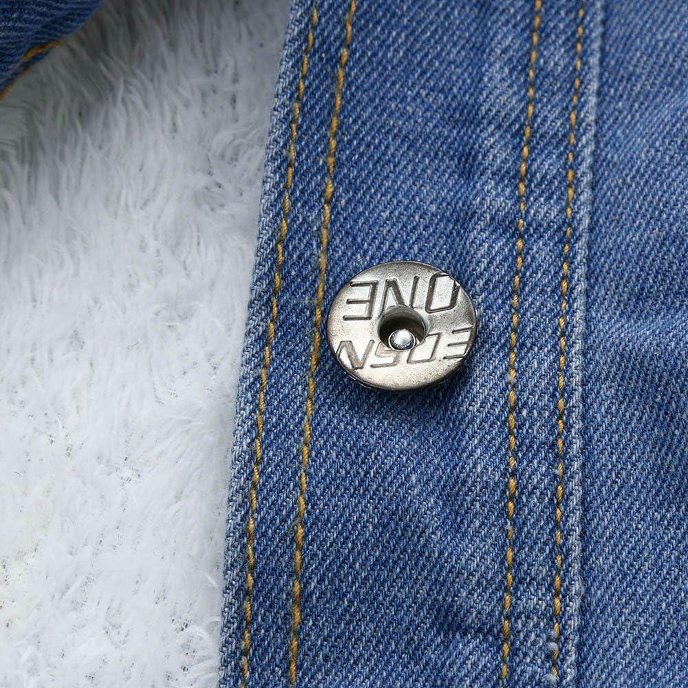 SALUCIA Damen Winterjacke Warm Jeansjacke Fellkapuze Kurz Jacke mit Teddyfutter Herbst Winter Übergangsjacke Outwear 1# Blau