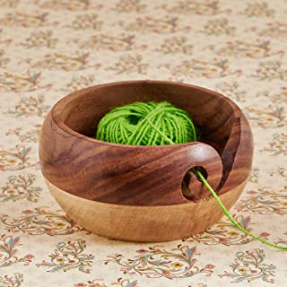 Eximious India Wooden Yarn Bowl for Knitting and Crochet, Large Size 6